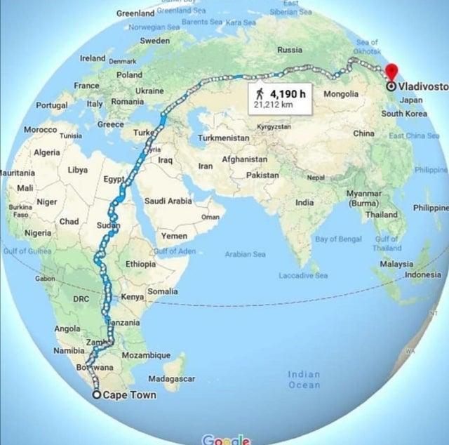 地球上可以步行完成的最长路线